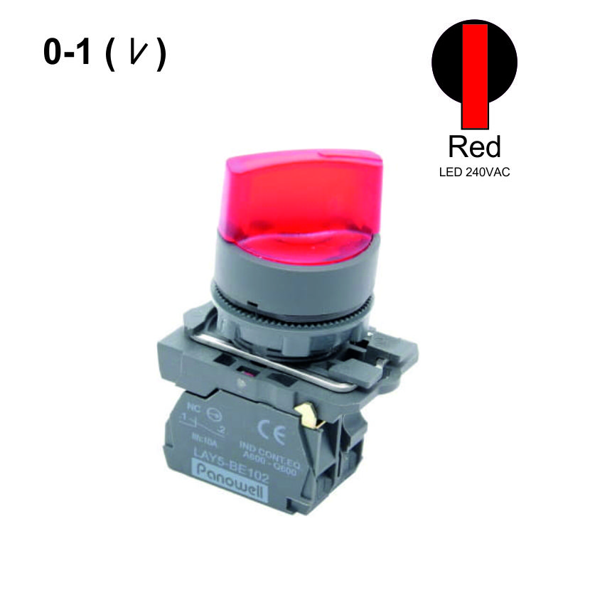 22mm  0-1 Selector Switches  Push Button LED 240VAC 1NC Red  Weiller WL5-AK-124L
