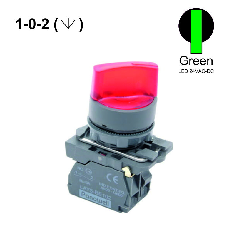 22mm  1-0-2 Selector Switches  Push Button LED 24VAC-DC 1NO+1NO Green Weiller WL5-AK-323L-24
